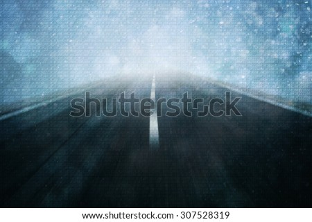 Concept binary code numbers travel information on motion blurred road background. Background with binary data and motion blurred road background. Illustration. - stock photo