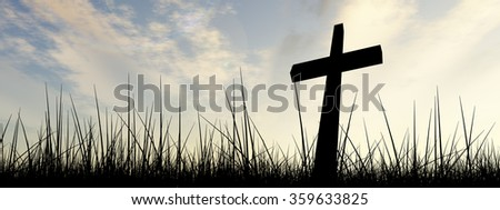 Concept black cross or religion symbol silhouette in grass over a sunset or sunrise sky with sunlight clouds background banner metaphor to God, Christ, Christianity, religious, faith, Jesus or belief
