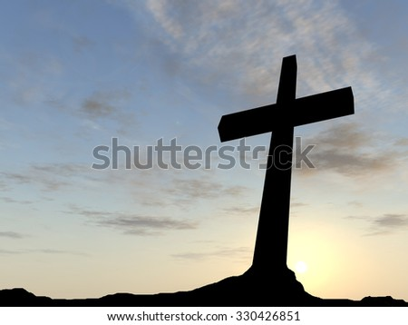 Concept black cross or religion symbol silhouette in rock landscape over a sunset or sunrise sky with sunlight clouds background for God, Christ, Christianity, religious, faith, Jesus or belief - stock photo