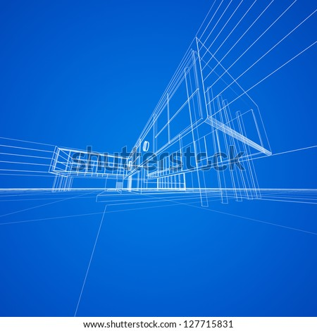 Concept blueprint on blue. My design and 3d model - stock photo