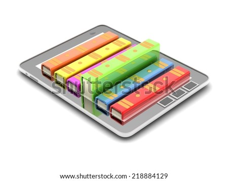 concept books in laptop - stock photo