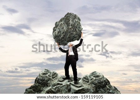 Concept business. Courage of businessman. - stock photo