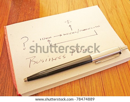 concept: business plan flow chart - stock photo