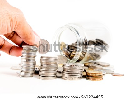 Concept.Business. Savings Coins - Investment And Interest