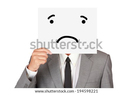 Concept business show paper emotion unhappy hide face abstract isolated on white background  - stock photo