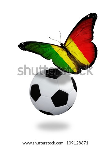 Concept - butterfly with Mali flag flying near the ball, like football team playing - stock photo