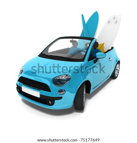Concept car with surf plank - stock photo