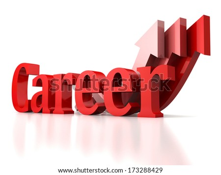 concept career text with growing rise arrows up - stock photo