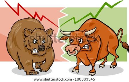 Concept Cartoon Illustration of Bear Market and Bull Market Stock Trends - stock photo