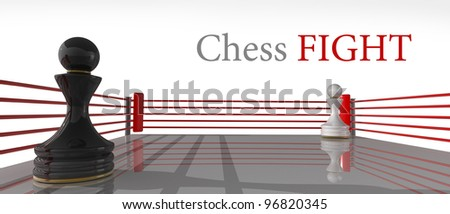 concept. chess pawn on a boxing ring 3D render (Hi-Res). Isolated on white background - stock photo
