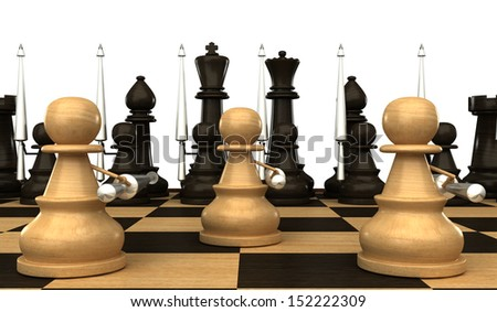 Concept. Chess pawn with spears. isolated. white background. 3d - stock photo