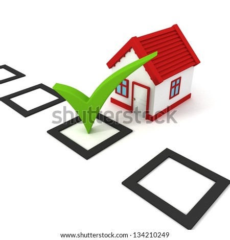 Concept choice of house with check box - stock photo