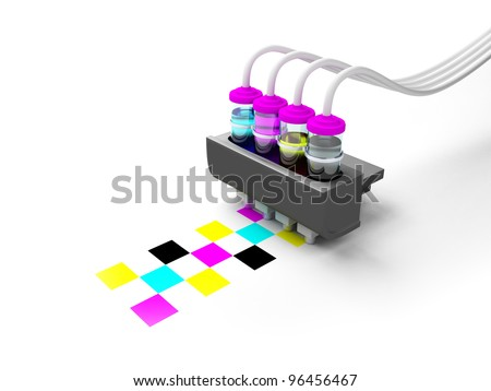 Concept cmyk model. Print cartridge with ink in glass bottles on a white background - stock photo