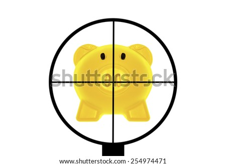 Concept commercial purposes. Gun aimed at the gold pig bank. - stock photo