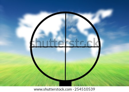 Concept commercial purposes. Gun aimed at the world map. - stock photo