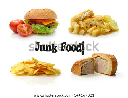 Concept composite of junk food images, beautifully photographed :) Can be used separately with cropping tool. White background and copy space. - stock photo