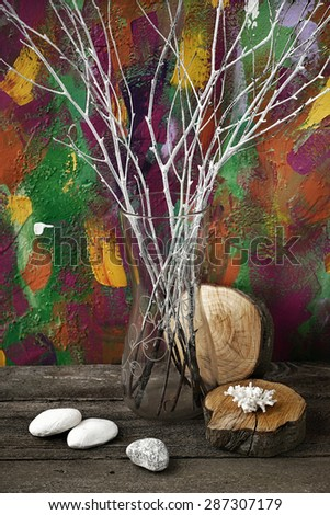 concept composition of white colored branches on the artbackground painted with acrylic - stock photo