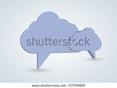 concept computer cloud with bubble speech - stock photo