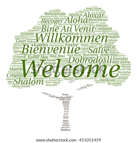 Concept conceptual abstract tree welcome or greeting international word cloud in different languages or multilingual isolated metaphor to world, foreign, worldwide, travel, translate, vacation tourism
