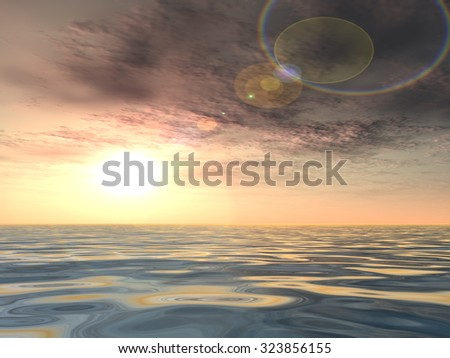 Concept conceptual beautiful seascape with water and waves and a sky with clouds at sunset metaphor to nature, peace, summer, travel, tropical, tourism, environment, vacation holiday