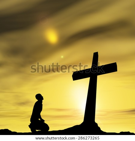 Concept conceptual black cross or religion symbol man silhouette in rocks over a sunset sky with sunlight clouds background, metaphor to God, Christ, Christianity, religious, faith, knee Jesus belief