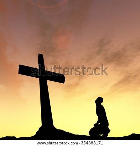 Concept conceptual black cross or religion symbol man silhouette in rocks over a sunset sky with sunlight clouds background metaphor to God, Christ, Christianity, religious, faith, knee Jesus belief