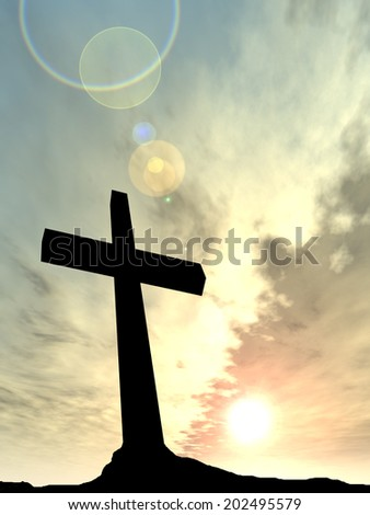 Concept conceptual black cross or religion symbol silhouette in rocks over a sunset or sunrise sky with sunlight clouds background for God, Christ, Christianity, religious, faith, Jesus or belief - stock photo