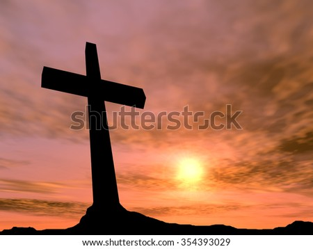 Concept conceptual black cross religion symbol silhouette in rock landscape over a sunset or sunrise sky with sunlight clouds background for God, Christ, Christianity, religious, faith, Jesus belief