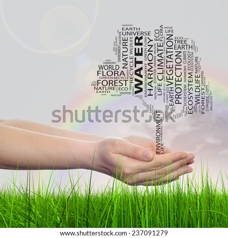 Concept conceptual black text word cloud tree man or woman hand on rainbow sky grass background, metaphor to nature, ecology, green, energy, natural, life, world, global, protect or environmental - stock photo