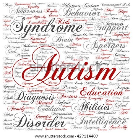 Concept conceptual childhood autism syndrome symptoms or disorder square word cloud isolated on background, metaphor to communication, social, behavior, care, autistic, speech or difference