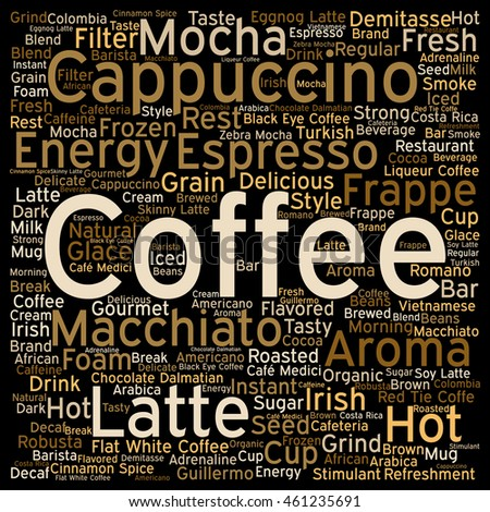 Concept conceptual creative hot coffee, cappuccino or espresso abstract square word cloud isolated on background metaphor to morning, restaurant, italian, beverage, cafeteria, break, energy or taste