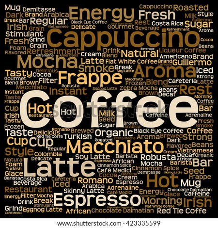 Concept conceptual creative hot coffee, cappuccino or espresso square word cloud isolated on background, metaphor to morning, restaurant, italian, beverage, cafeteria, break, energy or taste
