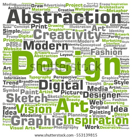 Concept Conceptual Creativity Art Graphic Design Visual Word Cloud Isolated On Background Metaphor To Advertising