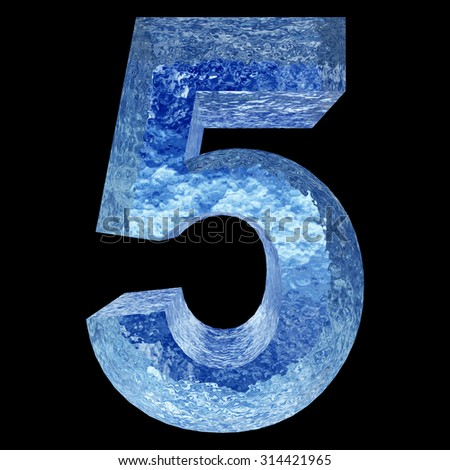 Concept conceptual 3D blue water or ice 5 font part of collection isolated on black background, metaphor to summer, spring or winter, fresh, frost, liquid, Christmas, eco, ecology, cold, drink or cool - stock photo