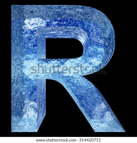 Concept conceptual 3D blue water or ice R font part of collection isolated on black background, metaphor to summer, spring or winter, fresh, frost, liquid, Christmas, eco, ecology, cold, drink or cool