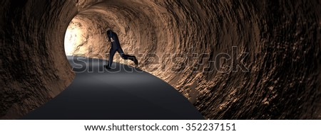 Concept conceptual 3D business man, dark road tunnel with bright light at the end background banner metaphor to hope, freedom, exit, life, faith, speed, dream, success, vision, future, fear salvation - stock photo