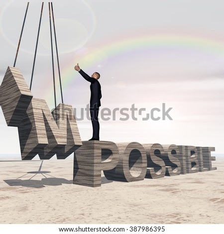 Concept conceptual 3D business man standing over abstract stone impossible text on rainbow sky background for success, career, work, job, achievement, development, growth, progress, vision, possible - stock photo