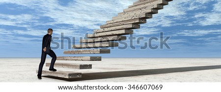 Concept conceptual 3D business man walking climbing stair on sky background with clouds banner metaphor to success, career, work, job, achievement, development, growth, progress, vision, future faith - stock photo