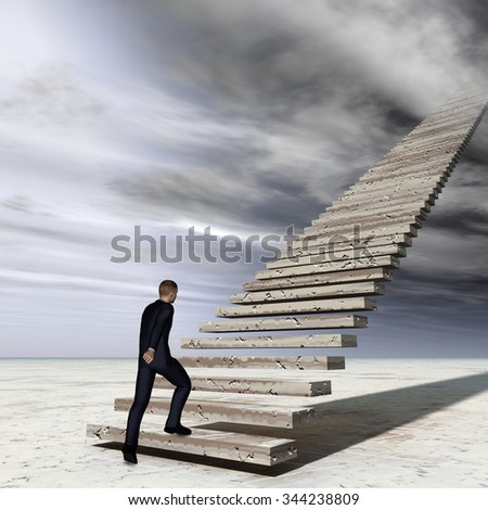 Concept conceptual 3D business man walking or climbing stair on sky background with clouds metaphor to success, career, work, job, achievement, development, growth, progress, vision, future or faith