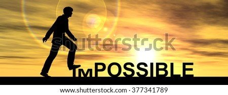 Concept conceptual 3D human man businessman as black silhouette stepping over impossible or possible text at sunset banner metaphor to success, challenge, motivation, achievement, business, goal hope - stock photo