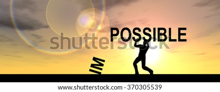 Concept conceptual 3D human man businessman, black silhouette lifting an impossible possible text at sunset banner metaphor to success, challenge, motivation, achievement, business, goal, hope, power - stock photo