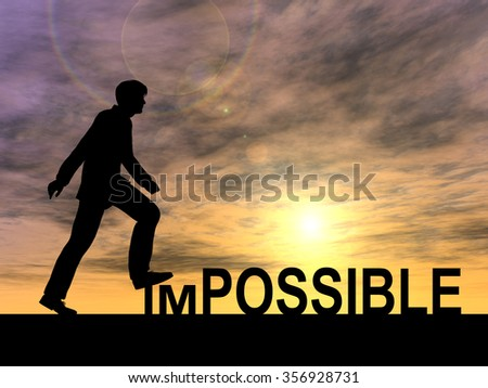 Concept conceptual 3D human man or businessman as black silhouette stepping over impossible possible text at sunset metaphor to success, challenge, motivation, achievement, business, goal, hope, hope - stock photo