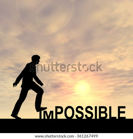 Concept conceptual 3D human man or businessman as black silhouette stepping over impossible possible text at sunset metaphor to success, challenge, motivation, achievement, business, goal, hope, power - stock photo