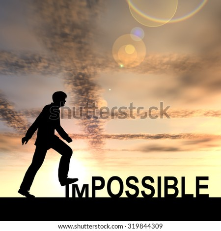 Concept conceptual 3D human man or businessman as black silhouette stepping over impossible or possible text at sunset, metaphor to success, challenge, motivation, achievement, business, goal or hope - stock photo