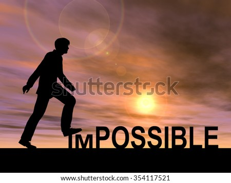 Concept conceptual 3D human man or businessman as black silhouette stepping over impossible or possible text at sunset metaphor to success, challenge, motivation, achievement, business, goal or hope - stock photo