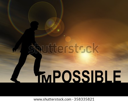 Concept conceptual 3D human man or businessman as black silhouette stepping over impossible or possible text at sunset metaphor to success, challenge, motivation, achievement, business, goal, hope - stock photo