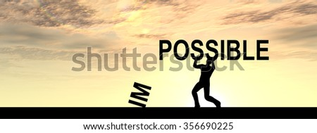 Concept conceptual 3D human man or businessman, black silhouette lifting an impossible or possible text at sunset banner for success, challenge, motivation, achievement, business, goal, hope, power - stock photo