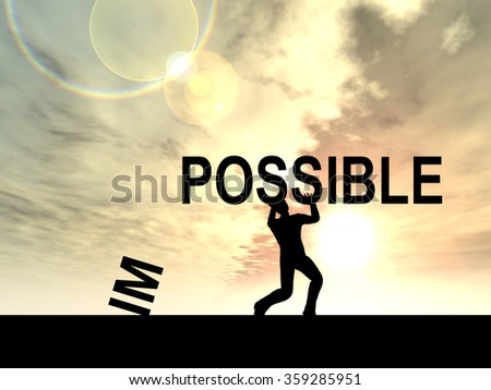 Concept conceptual 3D human man or businessman, black silhouette lifting an impossible or possible text at sunset metaphor to success, challenge, motivation, achievement, business, goal or power - stock photo