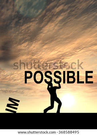 Concept conceptual 3D human man or businessman, black silhouette lifting an impossible or possible text at sunset metaphor to success, challenge, motivation, achievement, business, goal, hope, power - stock photo