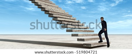 Concept conceptual 3D illustration business man walking or climbing stair on sky background with clouds for success, career, work, job, achievement, development, growth, progress, vision, future faith